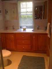 Newfound Lake house photo - Bathroom with double sinks.