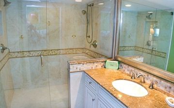 Master bathroom has large, walk in double shower, granite countertop