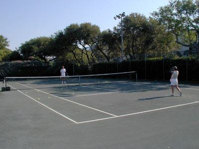 Tennis anyone? There are 4 clay courts & many other players to choose from.