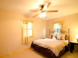 Ellijay cabin photo - Spacious Upstairs Queen bedroom with 27 inch TV and DVD player. No satellite
