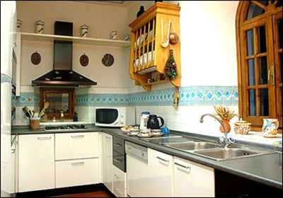 Full equipped kitchen with large fridge, microwave, dishwasher, icemaker