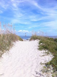 Walk to the end of Folly Island to see the Morris Island Light House.