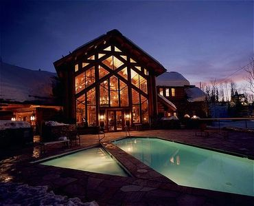 Lodge and Pool Nightime View