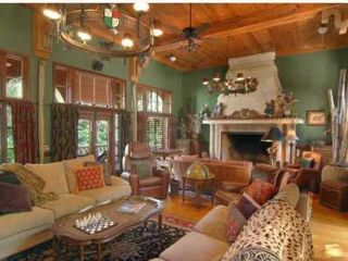 Tampa house photo - Villa Del Lago Great Room with Grand Fireplace overlooks lake