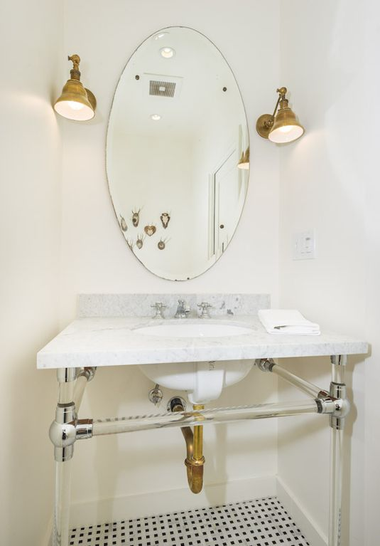 powder room, marble vanity, marble floors, designer finishes