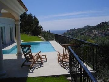 West Nice villa rental - Pool with sun terrace and sea views