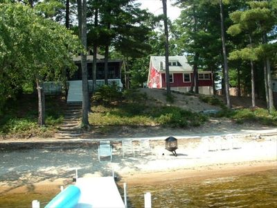 View of cottage (on right) from beach/dock