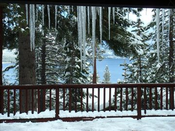 Winter view from kitchen. With 22 ski resorts, Lake Tahoe is THE place to ski!