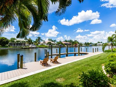 Large boat dock and sun deck with captain's walk.