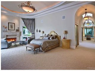 Rancho Santa Fe estate photo - Master Bedroom (Cal King), hall to his/hers closets/Bath. Spa tub, sauna, steam.