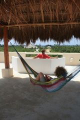 Akumal villa photo - Enjoying the hammock under the palapa and the bench on the rooftop terrace.