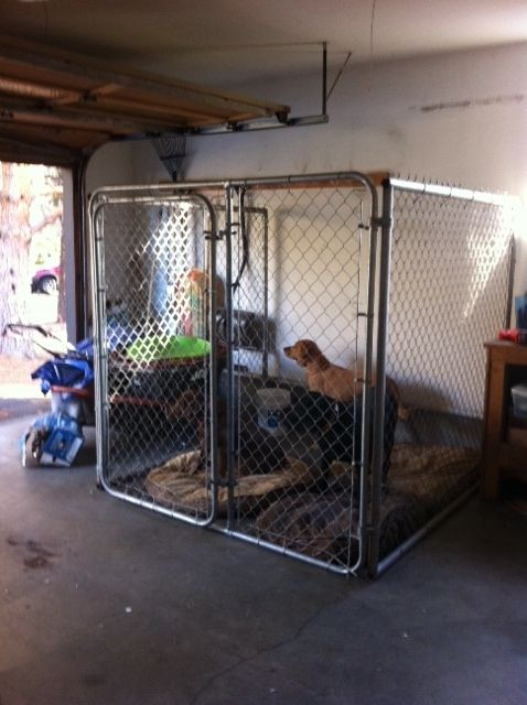 Safe garage kennel for your pet when you leave the house to explore Bend!