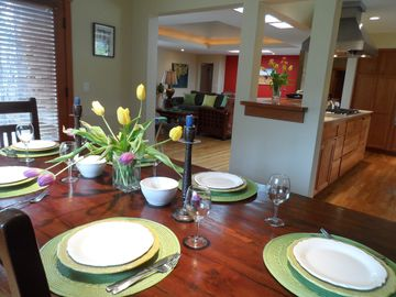 Cambria house rental - Dining room overlooking kitchen and living room.