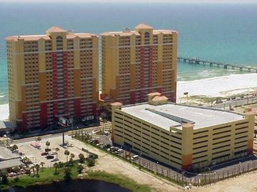 View of Calypso Resort Towers. Pier Park's Dan Russel Fishing Pier in background