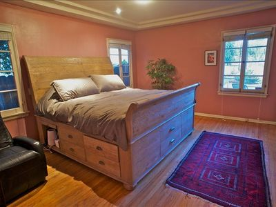 Master bedroom: King size bed with Sleep Number Bed mattress and walk-in closet
