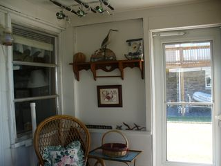 Crisfield house photo - Enclosed porch with view of private dock & bay
