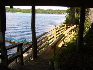 White Cloud cottage photo - Lower Walk Bridge To Lake. Due East Ahead!!!