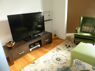 Den with Large Screen Television, Couch and 2 Chairs