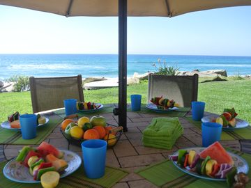 Oceanside villa rental - There are many places to walk to eat, but the best view is here!