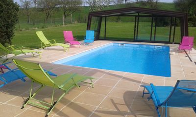 Large holiday home with heated indoor pool, 12 people