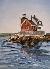 Camden apartment photo - Linda's painting of Rockland's Breakwater light, walk or sail by.