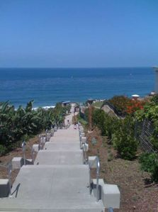 The new steps to the beach, just completed. July 2009 or a funicular too.
