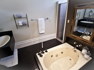 Master Whirlpool Tub, Double Vanities & Shower
