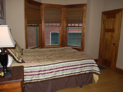 The ground floor bedroom features a queen and is great for older folks.