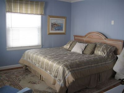 A King bed in the Master Bedroom for a wonderful night's sleep at the beach!