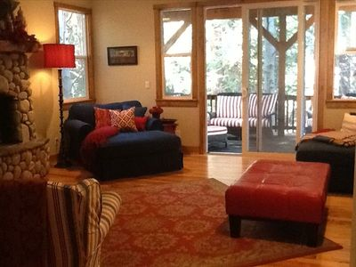 Family Room on 2nd level -- Big screen TV, fireplace and perfect area for movies