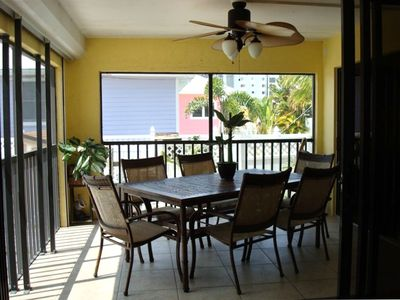 lanai overlooks heated pool and beach