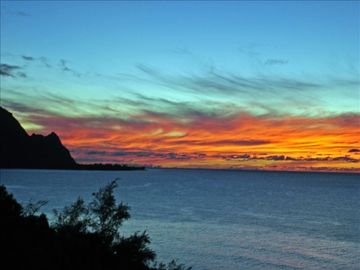 Princeville condo rental - Sunset from our lanai