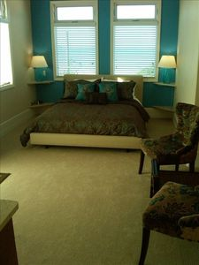 Anna Maria townhome rental - Master Bedroom With Queen Bed and View Toward Gulf
