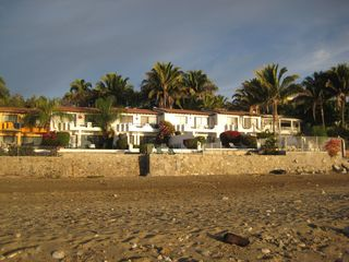View from the beach. Ours is the one in the middle with the stone steps. - Bucerias townhome vacation rental photo