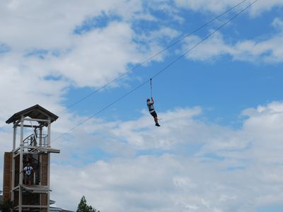 It that my grandson on the zip line?