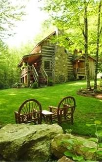 Boone cabin rental - Enjoy the beautiful creek just yards away with picnic table & benches creek