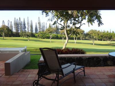 Walk from the lanai to the 10th hole and fairway of the famous Bay Course