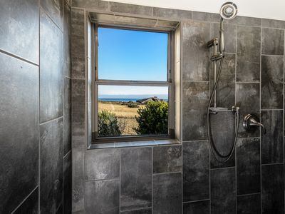 Walk-in shower with ocean view