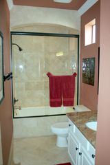 Emerald Shores house photo - 2nd Floor Travertine Bath/Shower with Granite Counters