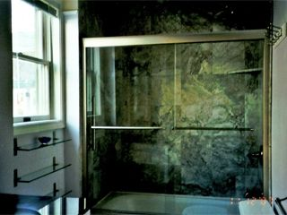 LUXURIOUS CEILING TO FLOOR MARBLE BATH - Provincetown condo vacation rental photo