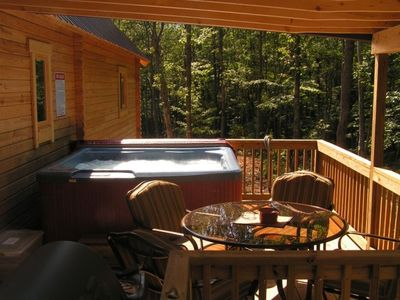 Deck with 6-person Hot Tub, Gas grill, Patio Set