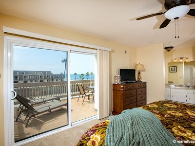 The master bedroom features an ocean view