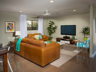 "Rancho Mirage house photo - Living room with leather seating, a 60"" flatscreen, surround sound, PS3/BluRay"