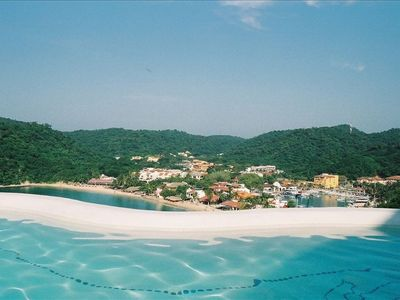 Huatulco villa rental - view from the community pool of Santa Cruz