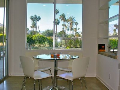 Palm Springs house rental - Kitchen Nook Facing Backyard & Golf Course & Santa Rosa Mountains
