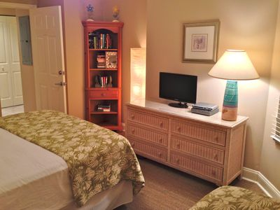 Guests in the second bedroom enjoy a HDTV and DVD player.