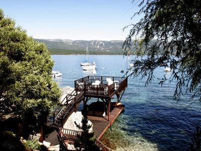Two-level private pier and panoramic lake view