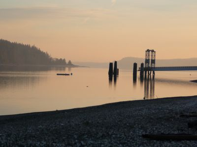Winter view of Herron Island from mainland ferry dock