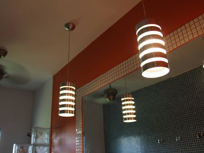 Bathroom lights, fan, mosaic tiles