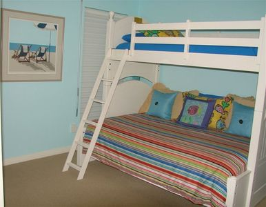 Third Bedroom with Closet, Carpet Floors, Bottom Bunk is Double, Top is a Single
